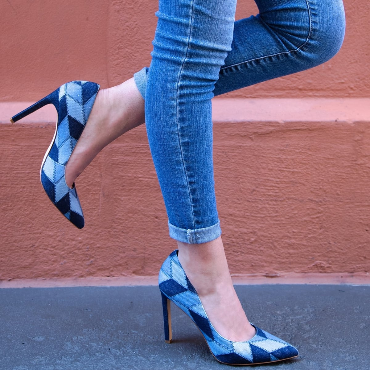 """Trend-savvy denim patchwork pointy-toe pump lifted by a sky-high, leg-lengthening 4"""" stiletto heel"""