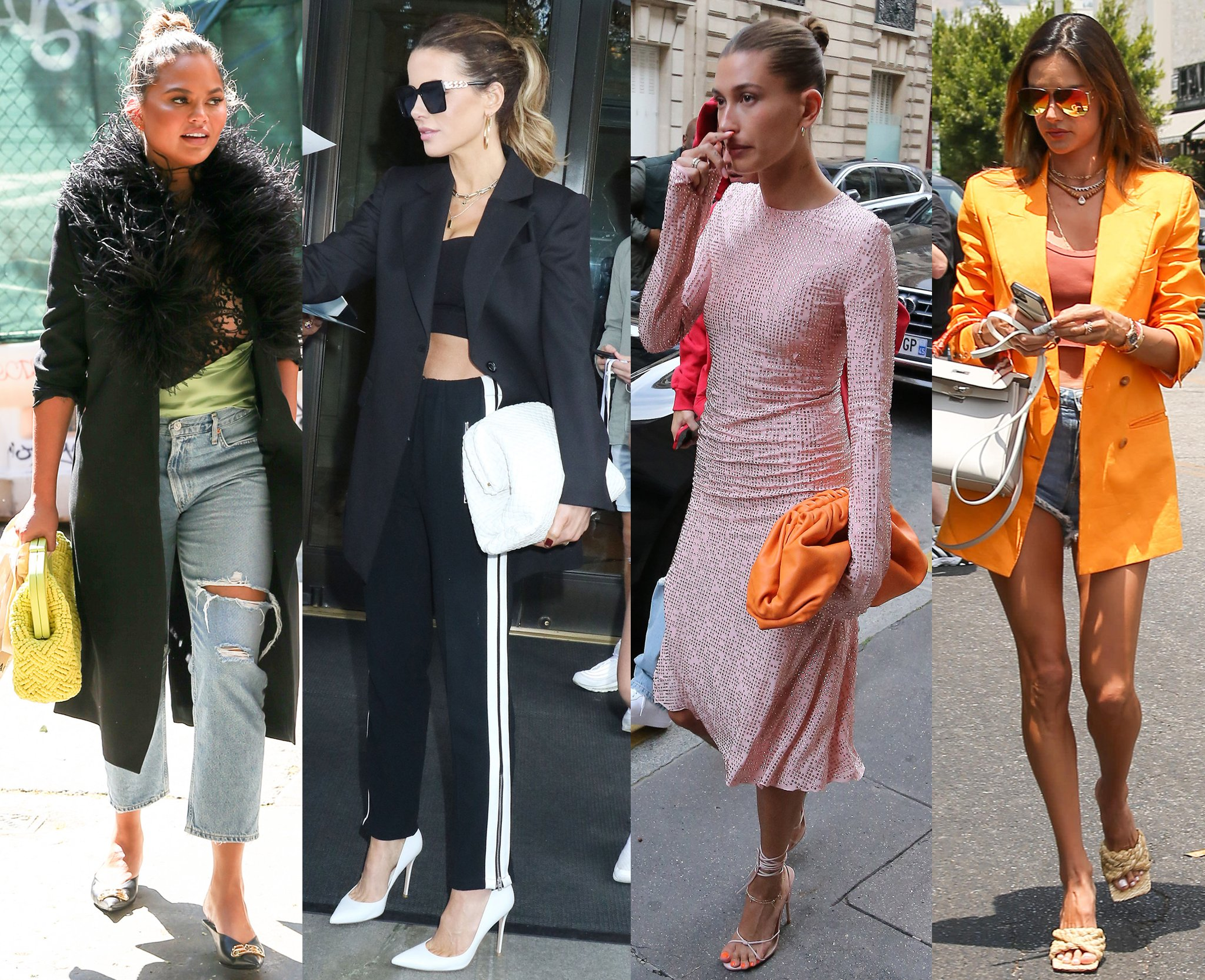 Chrissy Teigen, Kate Beckinsale, and Hailey Bieber carry the Bottega Veneta The Pouch clutch, while Alessandra Ambrosio slips into a pair of Bottega Veneta Raffia sandals