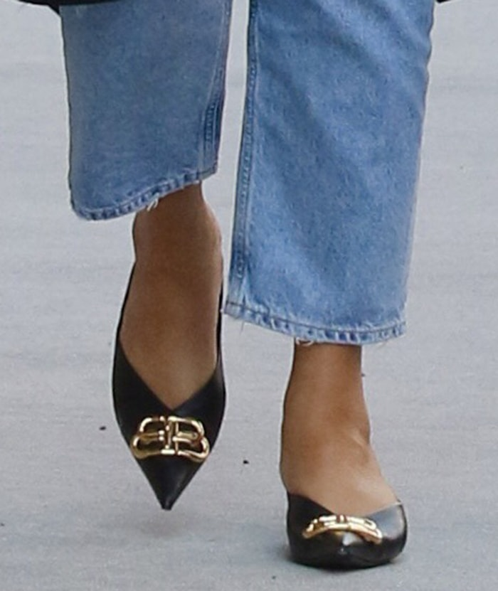 Chrissy Teigen completes her chic casual look with Balenciaga Square Knife mules