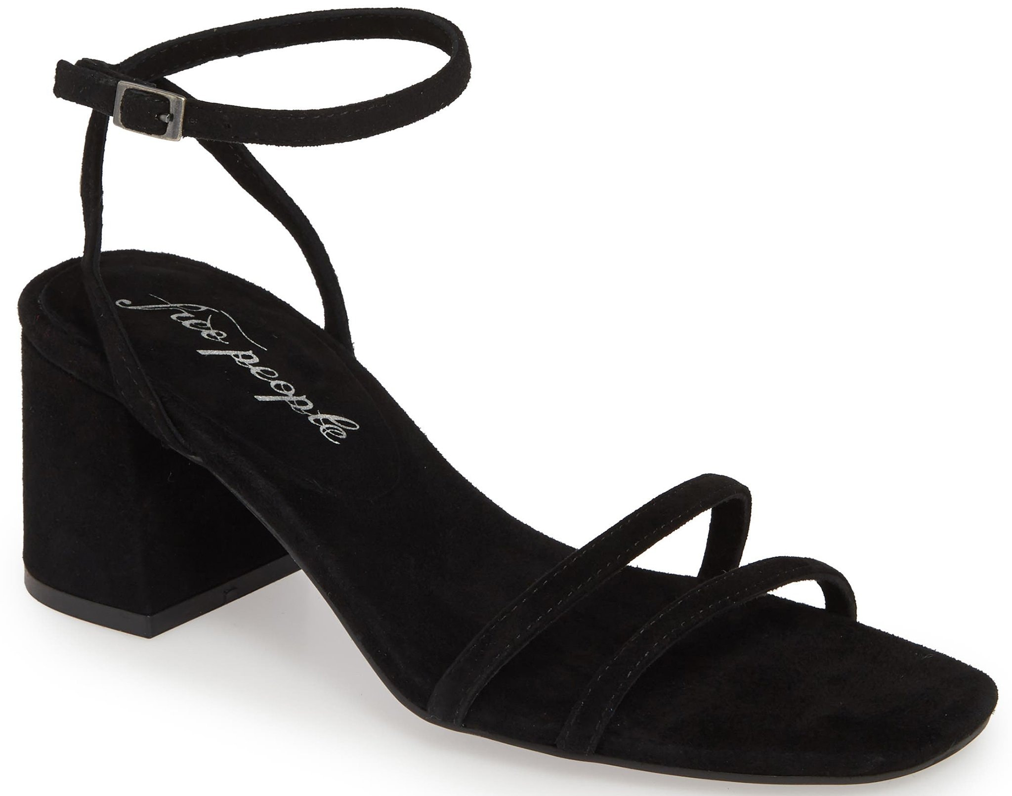 Free People's Gabby has short block heels and a strappy upper made of suede