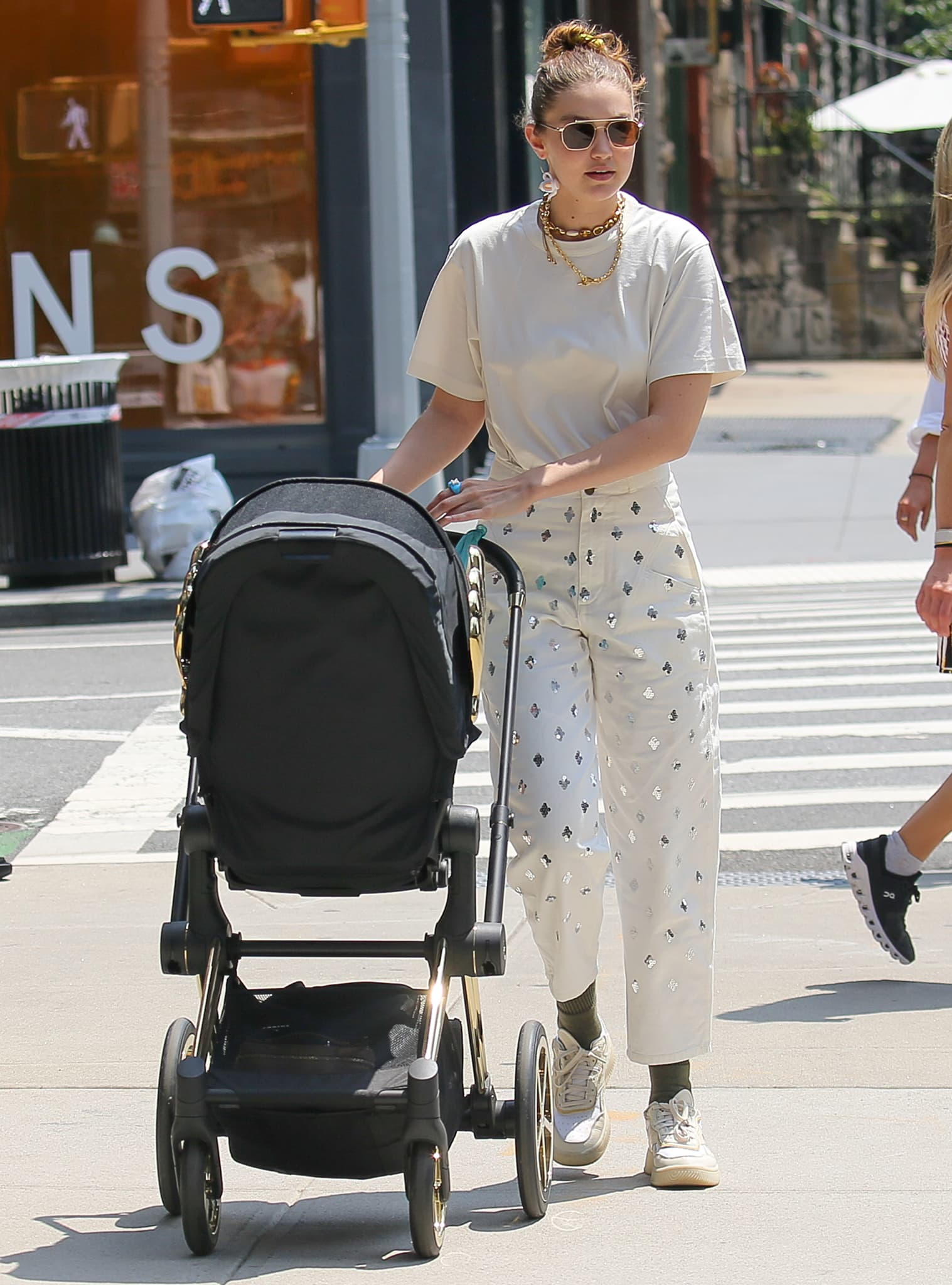 Gigi Hadid steps out in New York City with her daughter, Khai, on July 28, 2021