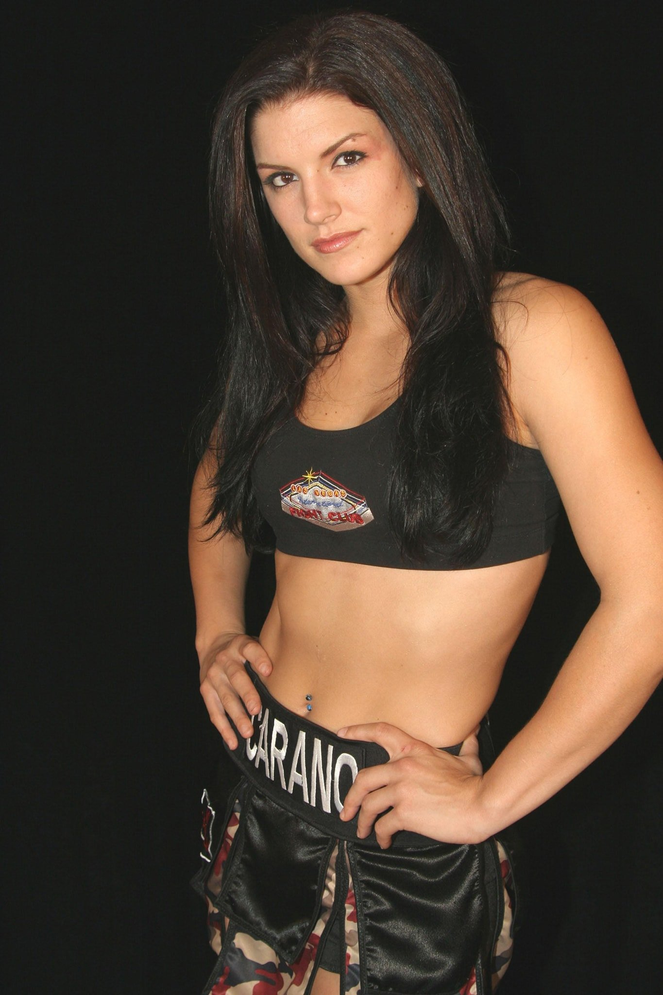 Gina Carano, pictured in 2006, says she works out twice a day to keep her in her fighting form