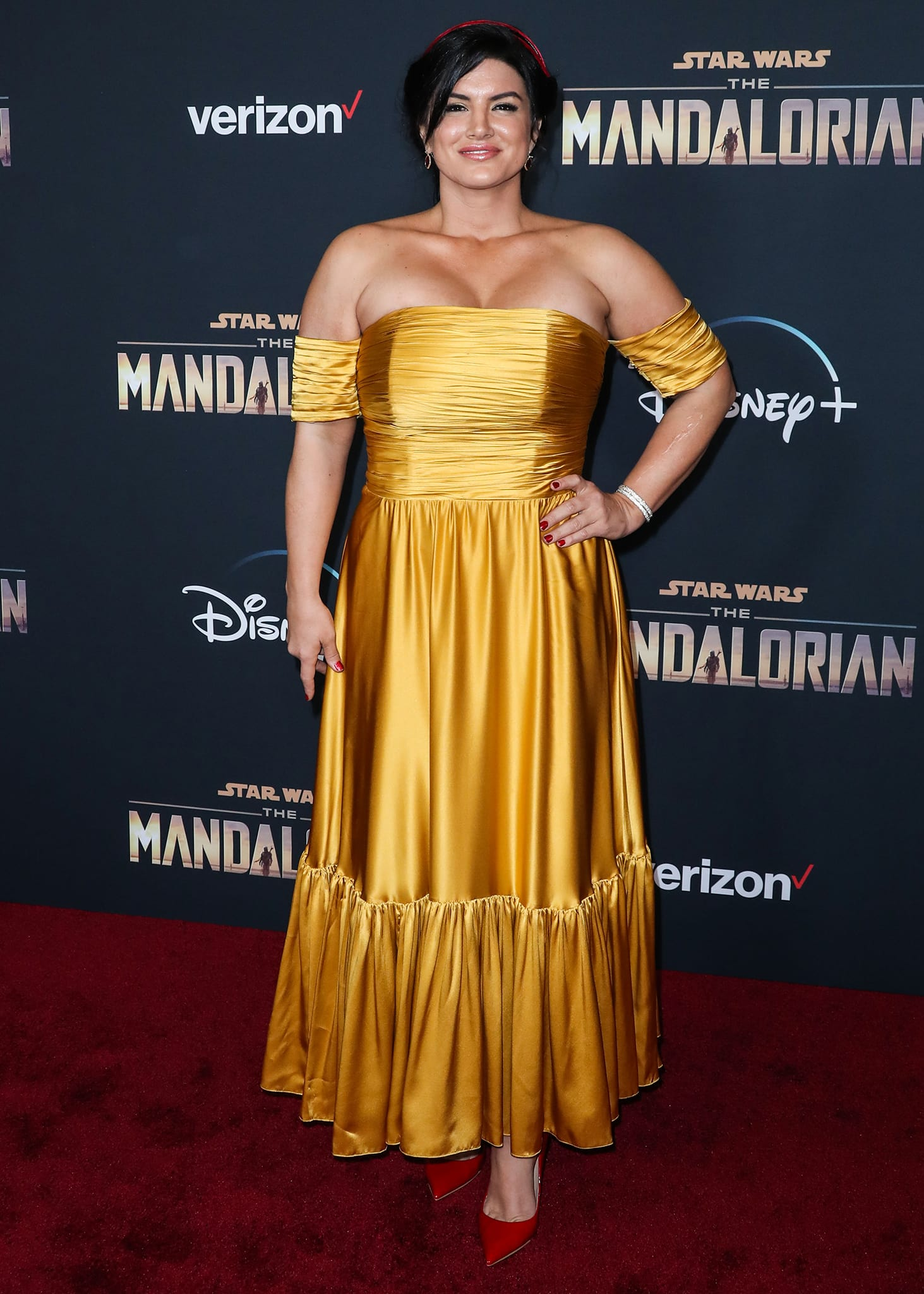 Gina Carano at the Los Angeles premiere of Disney+'s The Mandalorian held at the El Capitan Theatre on November 13, 2019