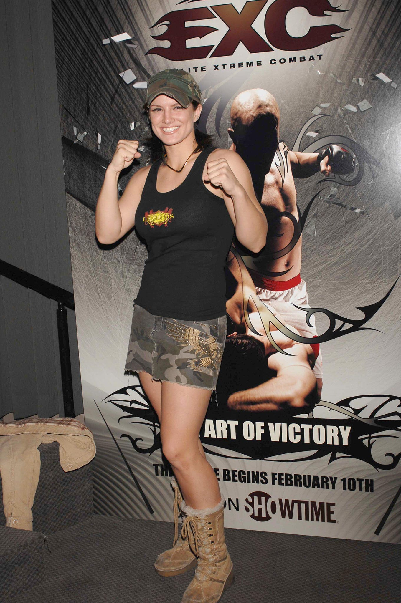 Former MMA fighter Gina Carano pictured in 2006 at the Showtime and Pro Elite press conference in Los Angeles