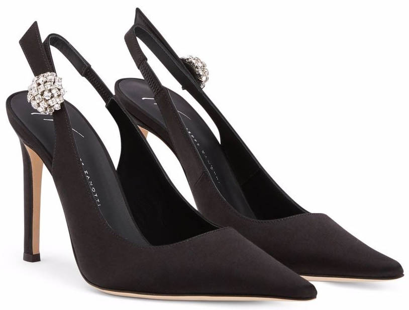 The Sphera pumps have a vintage-style crystal jewel on one side of the slingback strap
