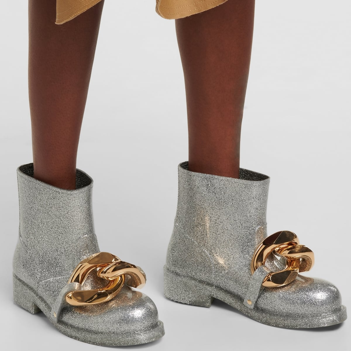Silver-tone JW Anderson sparkling glittered rubber rain boots with chunky sculptural gold-tone chain embellishments
