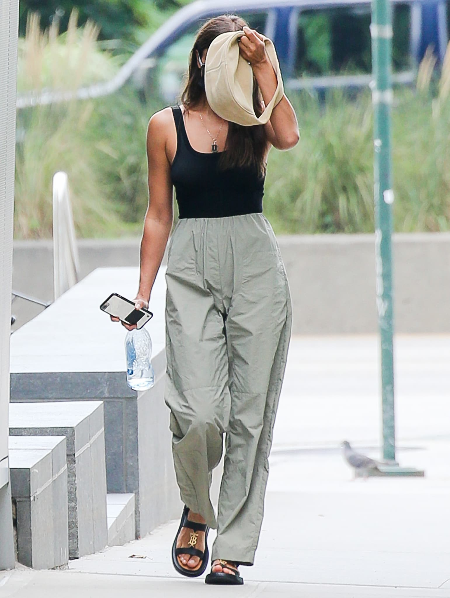 Irina Shayk sneaking out of her ex Vito Schnabel's house in New York City on August 10, 2021