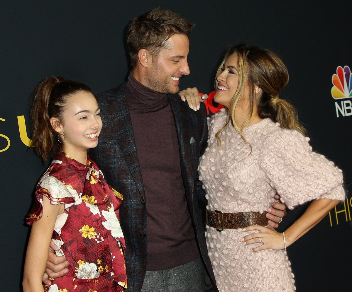 Justin Hartley with his daughter Isabella Hartley (L) and his wife Chrishell Stause (R)