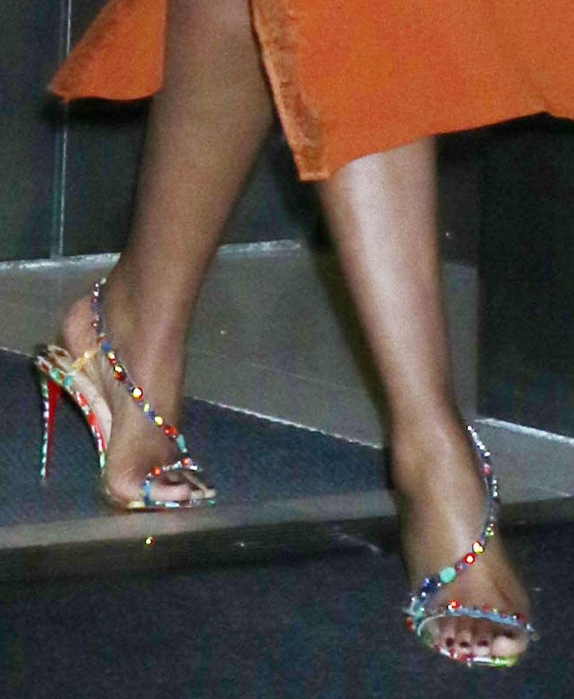 Jennifer Hudson shows off her feet in Christian Louboutin multicolored crystal sandals