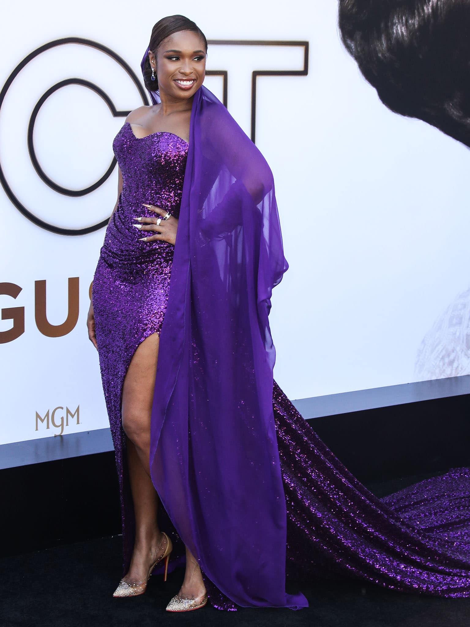 Jennifer Hudson stuns in Dolce & Gabbana purple sequined gown with a Jolleson chiffon veil