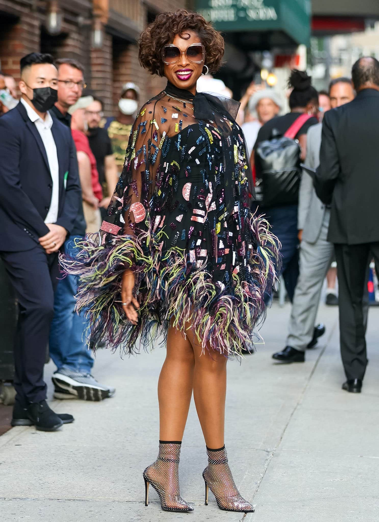 Jennifer Hudson outside Late Show with Stephen Colbert studio at the Ed Sullivan Theatre in New York City on August 12, 2021
