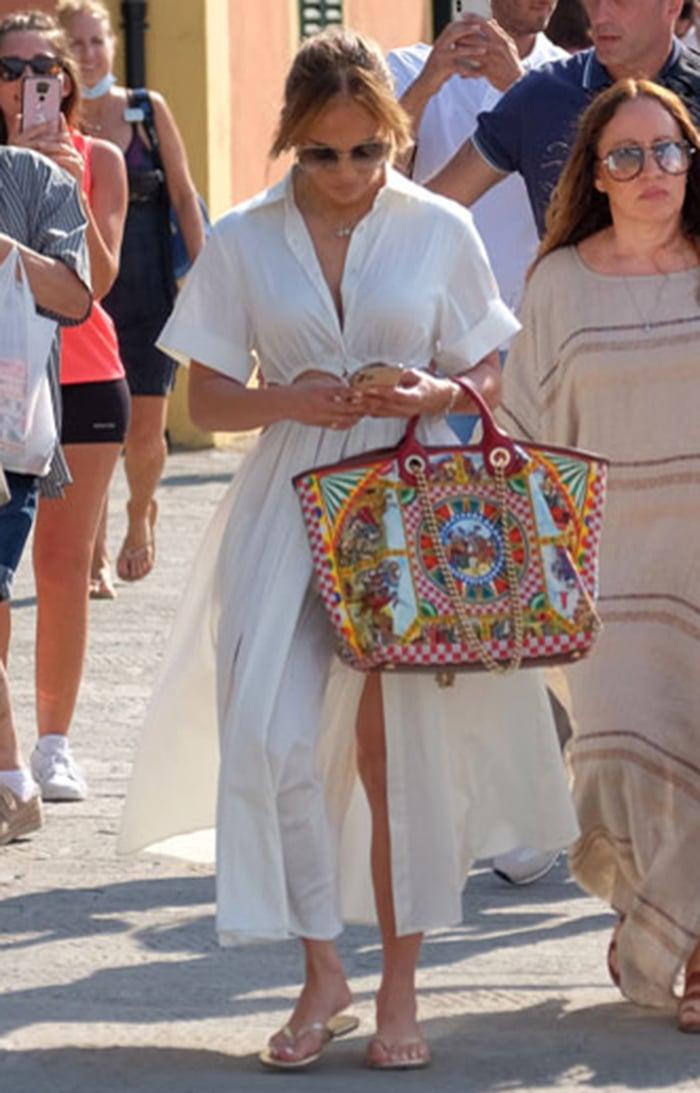 Jennifer Lopez looks summer-chic in Cult Gaia Keegan off-white midi dress