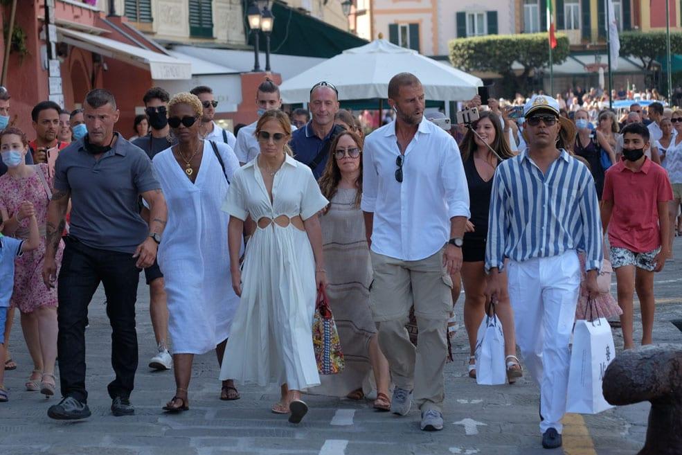 Jennifer Lopez strolling in Portofino, Italy with her friends on July 31, 2021