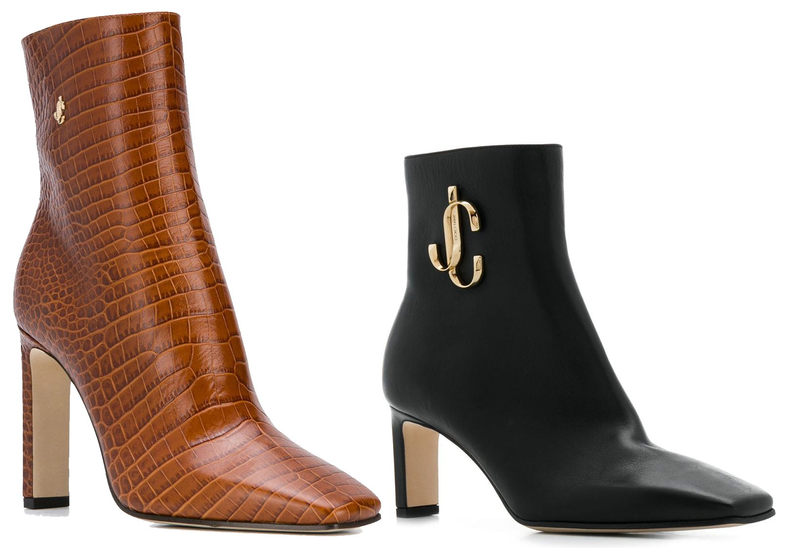The Minori features the new interlocking JC logo with square toes, and thin block heels