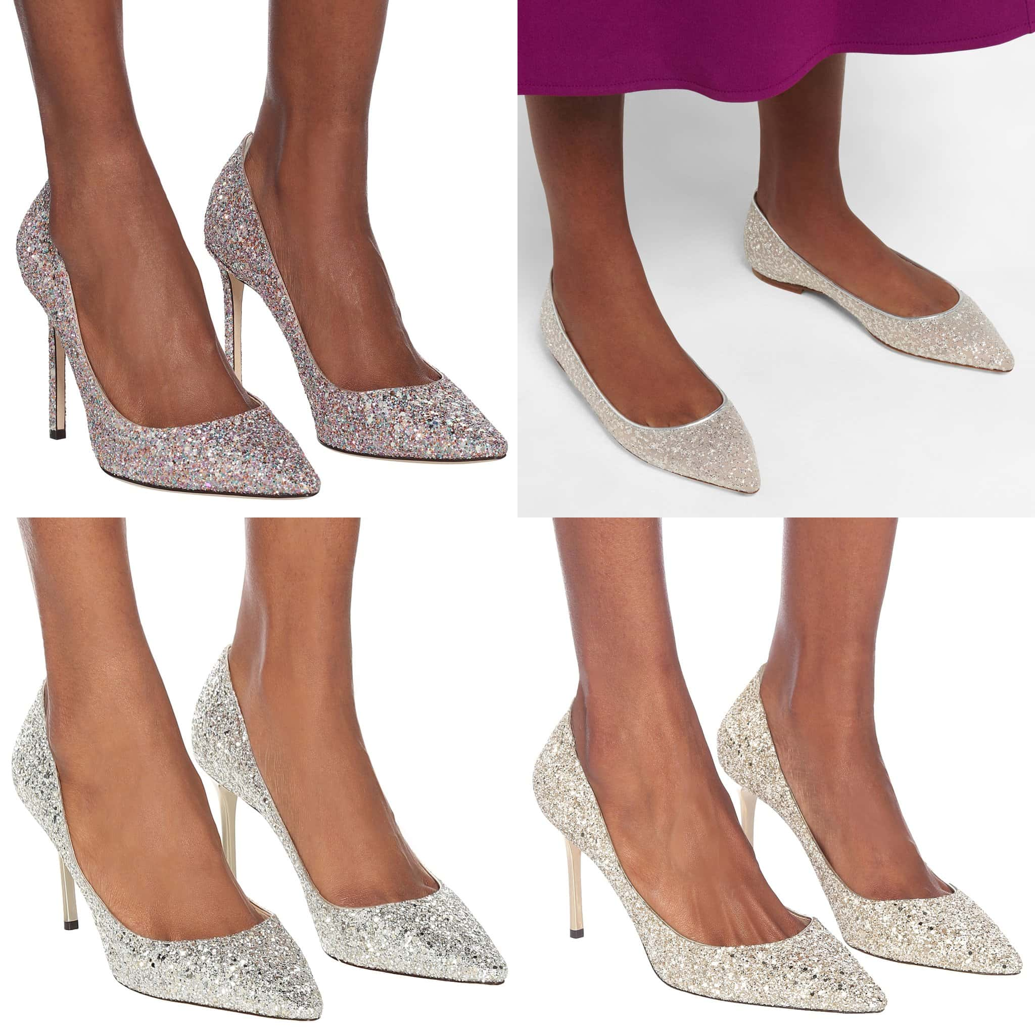 The Romy glitter shoes, available in different heel heights, will add a glamorous finish to any look