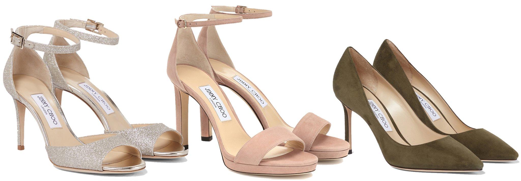 Jimmy Choo Annie Sandals, $725; Jimmy Choo Misty Sandals, $700; and Jimmy Choo Romy Pumps, $577