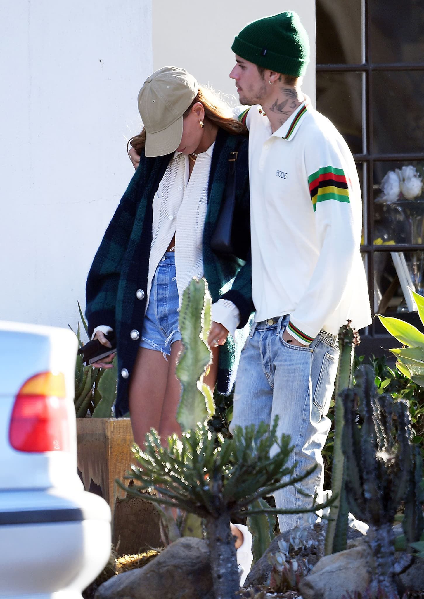 Justin and Hailey Bieber wrap their arms around each other on their way to Montecito's Tre Lune