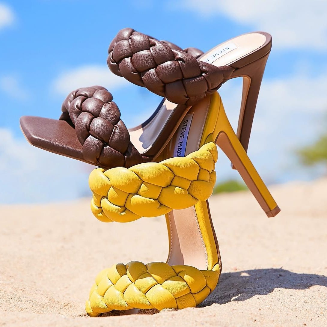 Chunky woven straps bring chic texture to a versatile sandal sat on a soaring heel and finished with a square toe