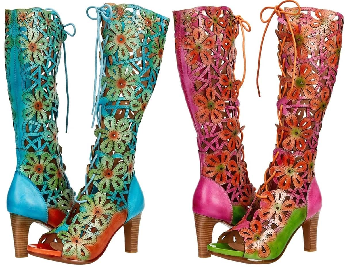Embrace your love for all things floral this season in the hand-painted pink and turquoise L'Artiste by Spring Step Fabuflora leather boots