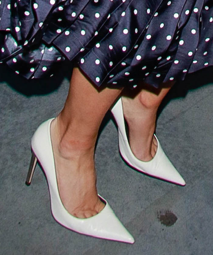 Lady Gaga pairs her retro dress with white Giuseppe Zanotti Raquel pumps