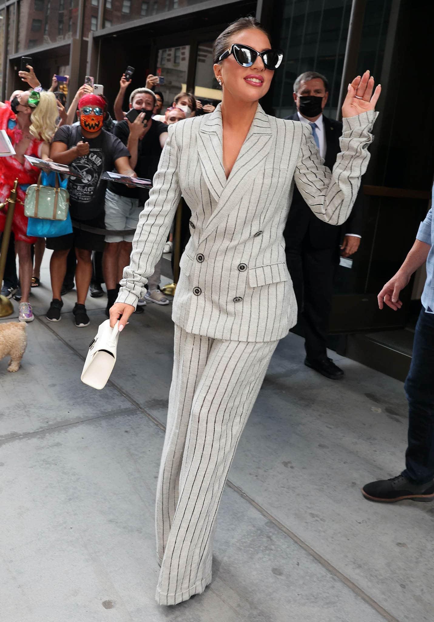 Lady Gaga channels her inner boss lady in Jean Paul Gaultier pinstripe suit