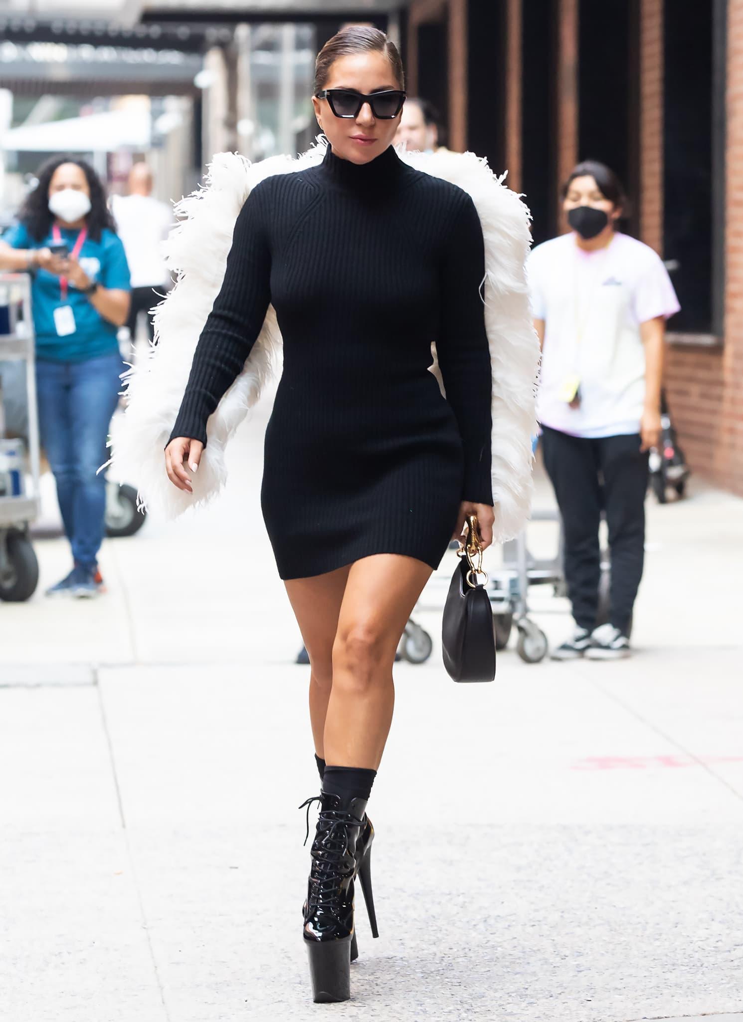 Lady Gaga leaving Milk Studios in a Lanvin rib-knit sweater body-con dress on July 27, 2021
