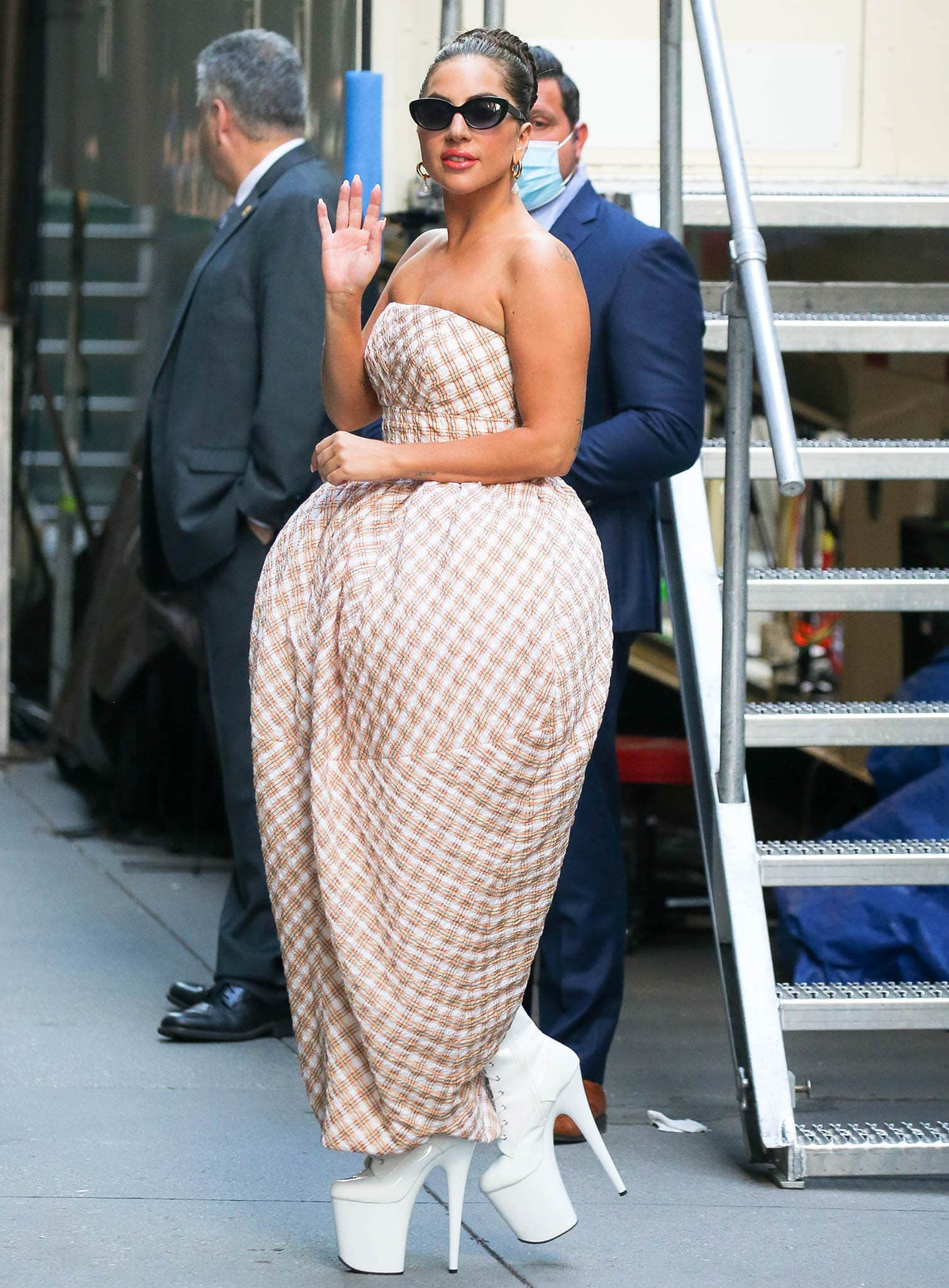 Lady Gaga arriving at Radio City Music Hall for One Last Time concert with Tony Bennett on August 5, 2021
