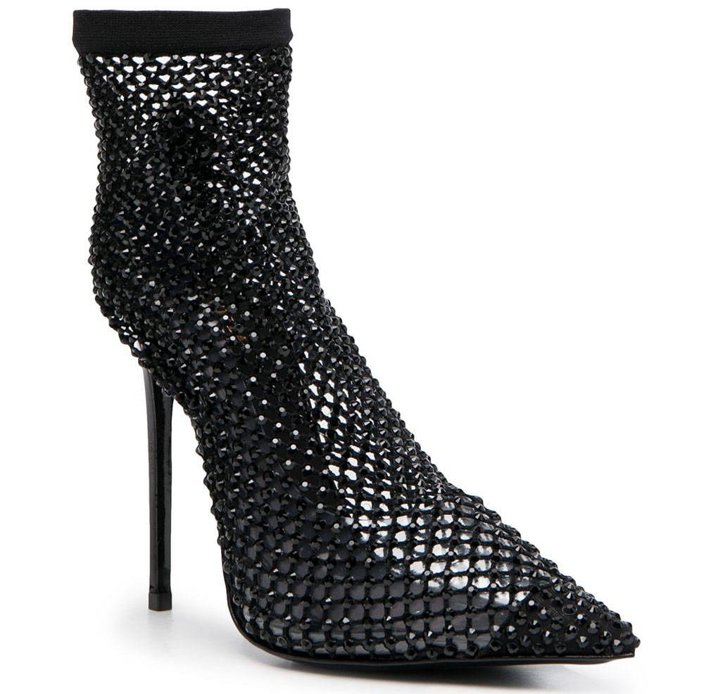 Le Silla's Gilda booties have clear PVC pumps covered with crystal-embellished net