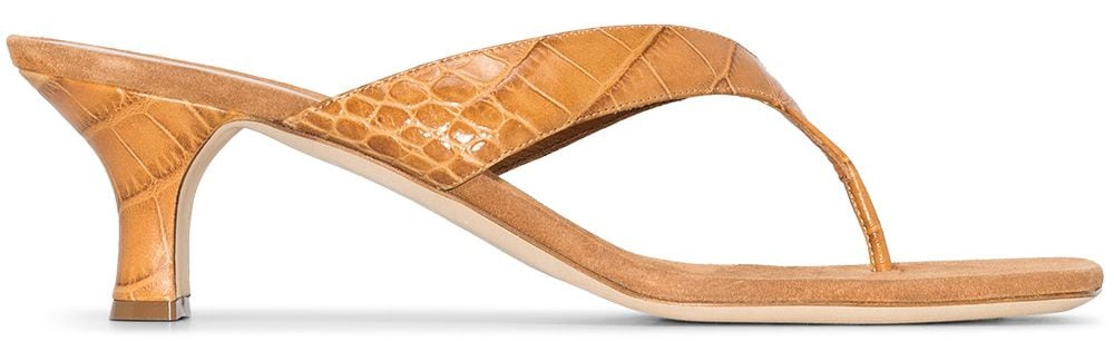 The Portofino from Paris Texas is a summery sandal with a trendy thong-toe post and a blocked mid-heel