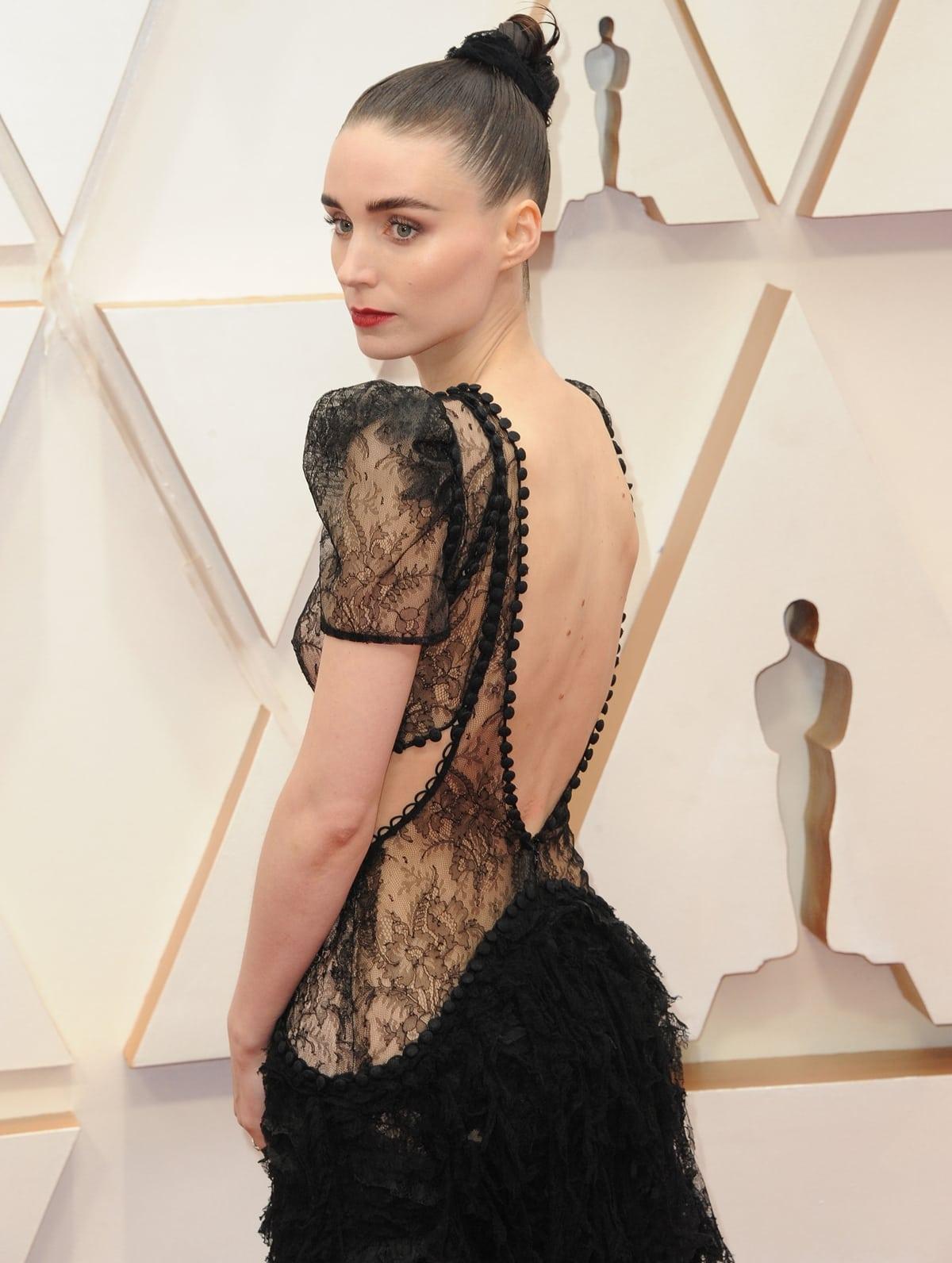 Rooney Mara in an Alexander McQueen frilled ruffle dress at the 2020 Academy Awards