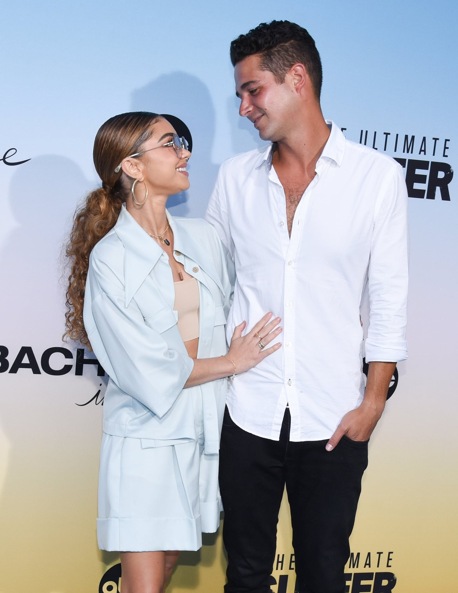 Sarah Hyland and fiancé Wells Adams at ABC's Bachelor In Paradise and The Ultimate Surfer premiere in Santa Monica on August 12, 2021