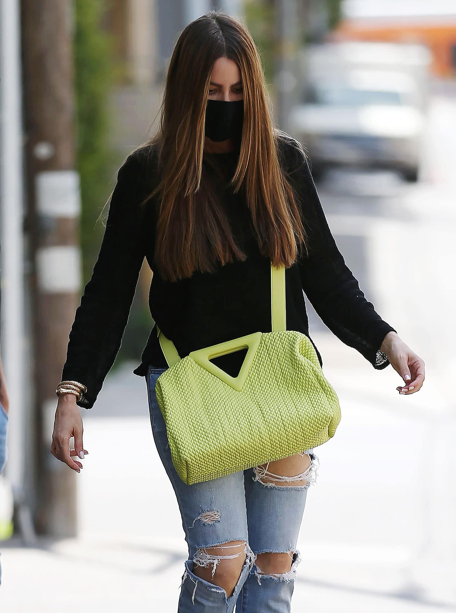 Sofia Vergara carries a seagrass Bottega Veneta Point bag across her body