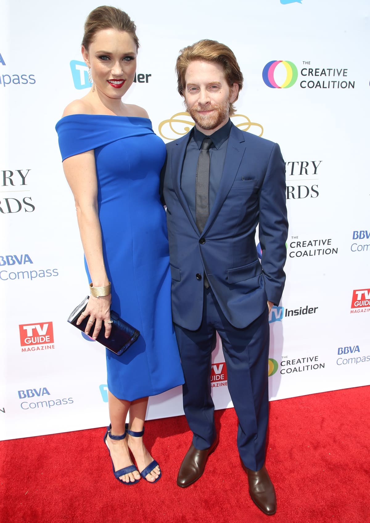 Actors Clare Grant (L) and Seth Green (R) attend the Television Industry Advocacy Awards