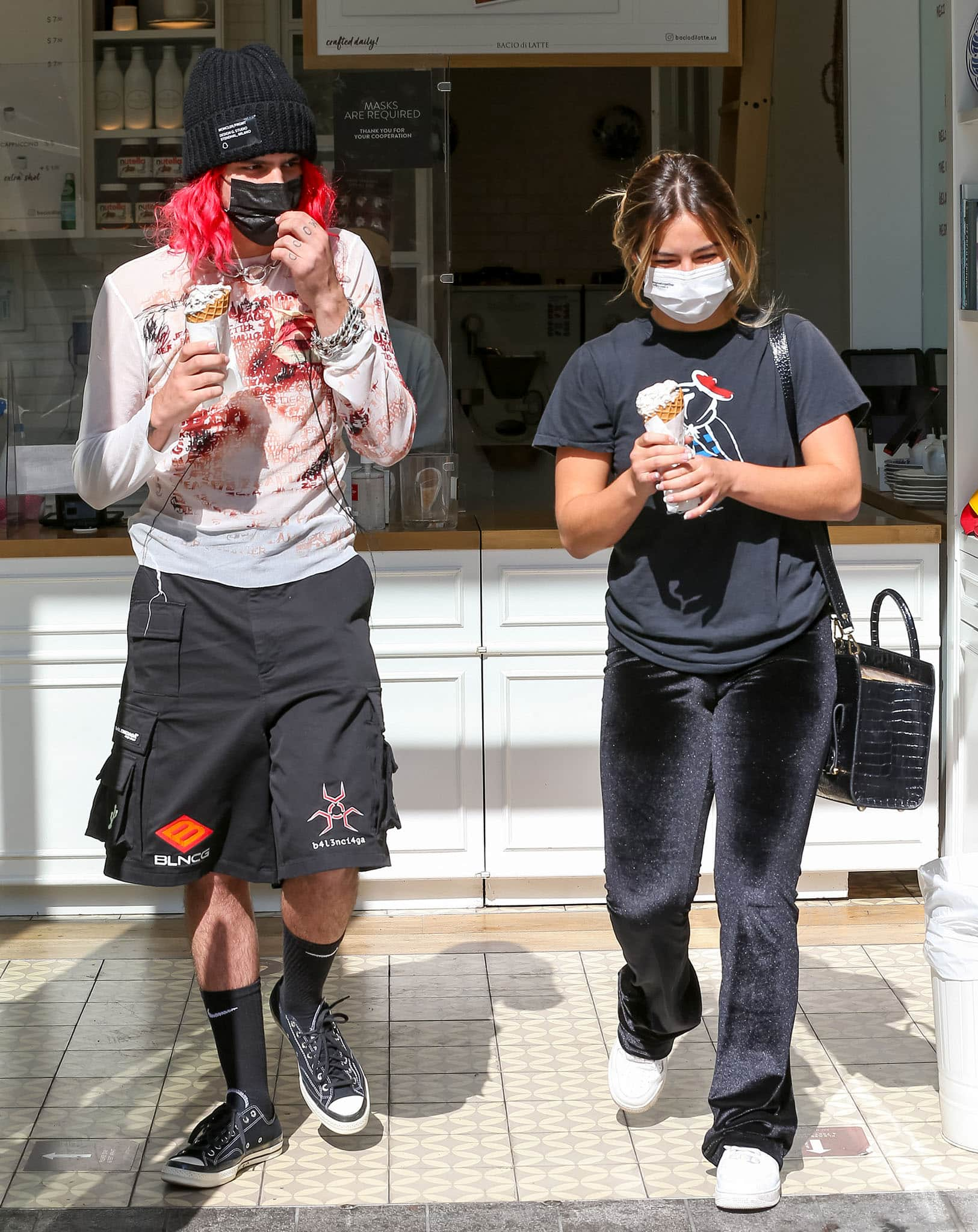 Omer Fedi and Addison Rae grabbing ice cream at Century City mall in Los Angeles on September 2, 2021