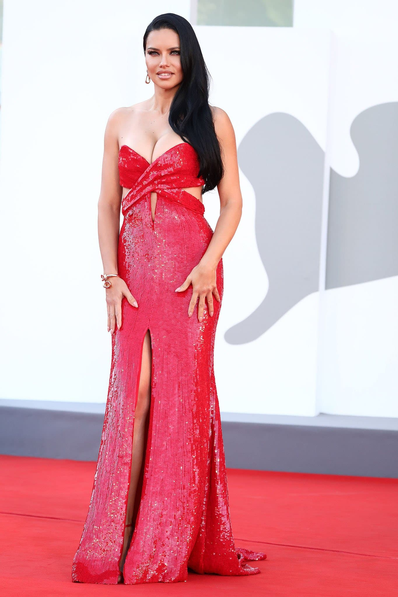 Adriana Lima's Etro gown features sultry flesh-baring cutouts and a thigh-high slit