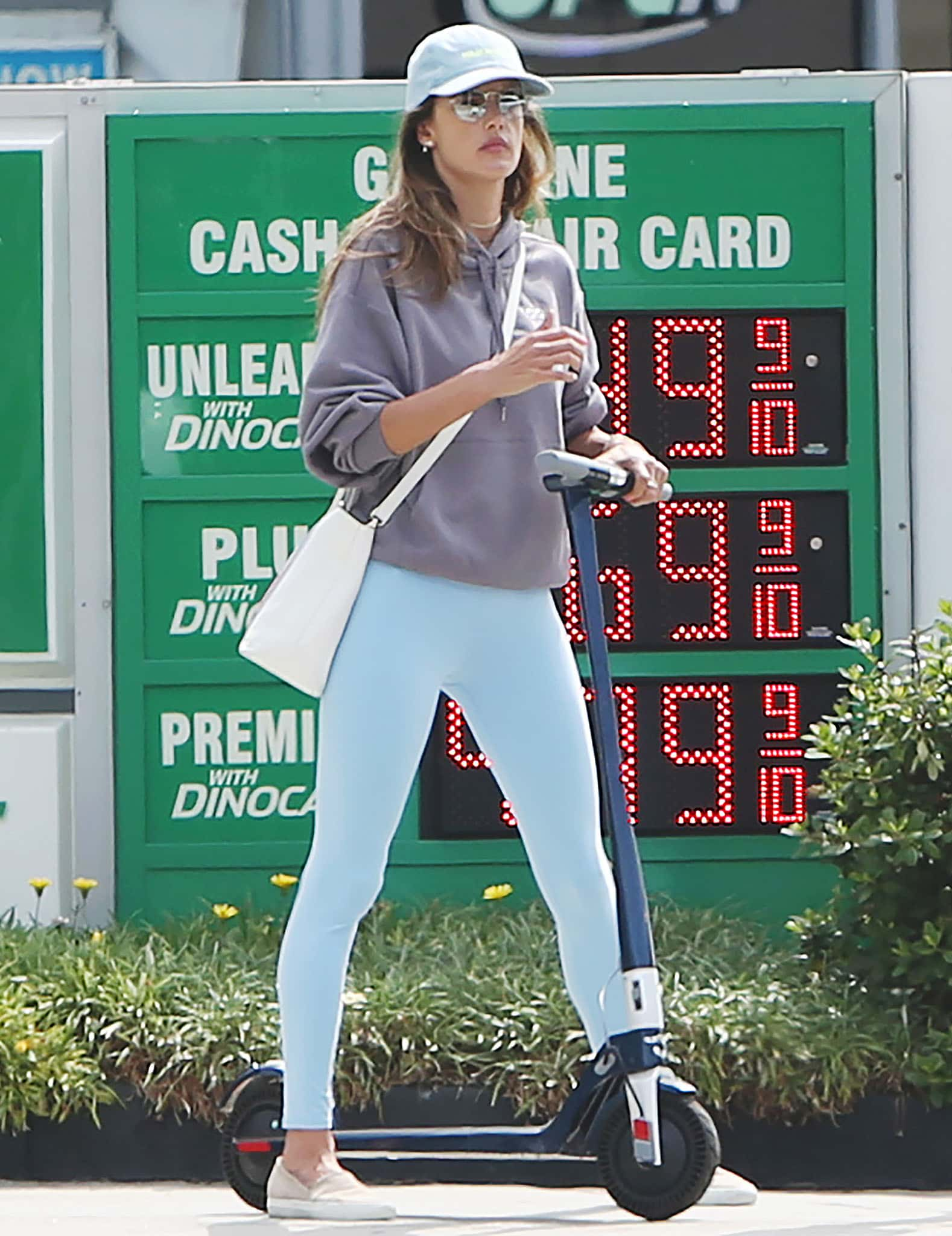 Alessandra Ambrosio running errands on her scooter in Santa Monica on August 31, 2021