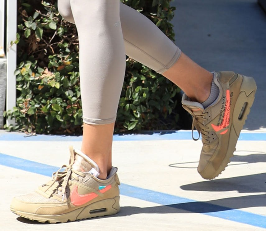 Alessandra Ambrosio completes her comfy workout outfit with Nike x Off-White Air Max 90