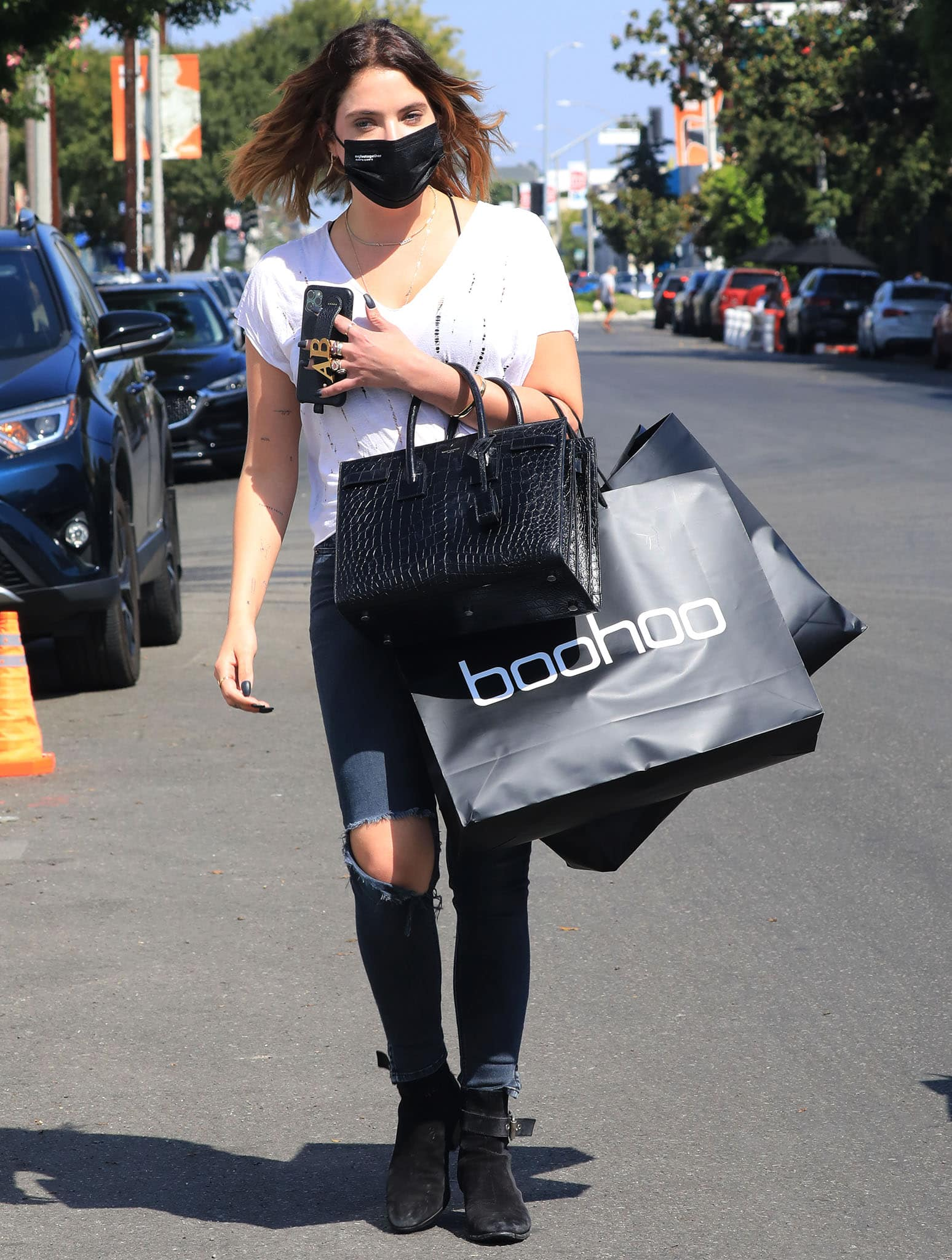 Biker babe Ashley Benson goes shopping at Boohoo boutique
