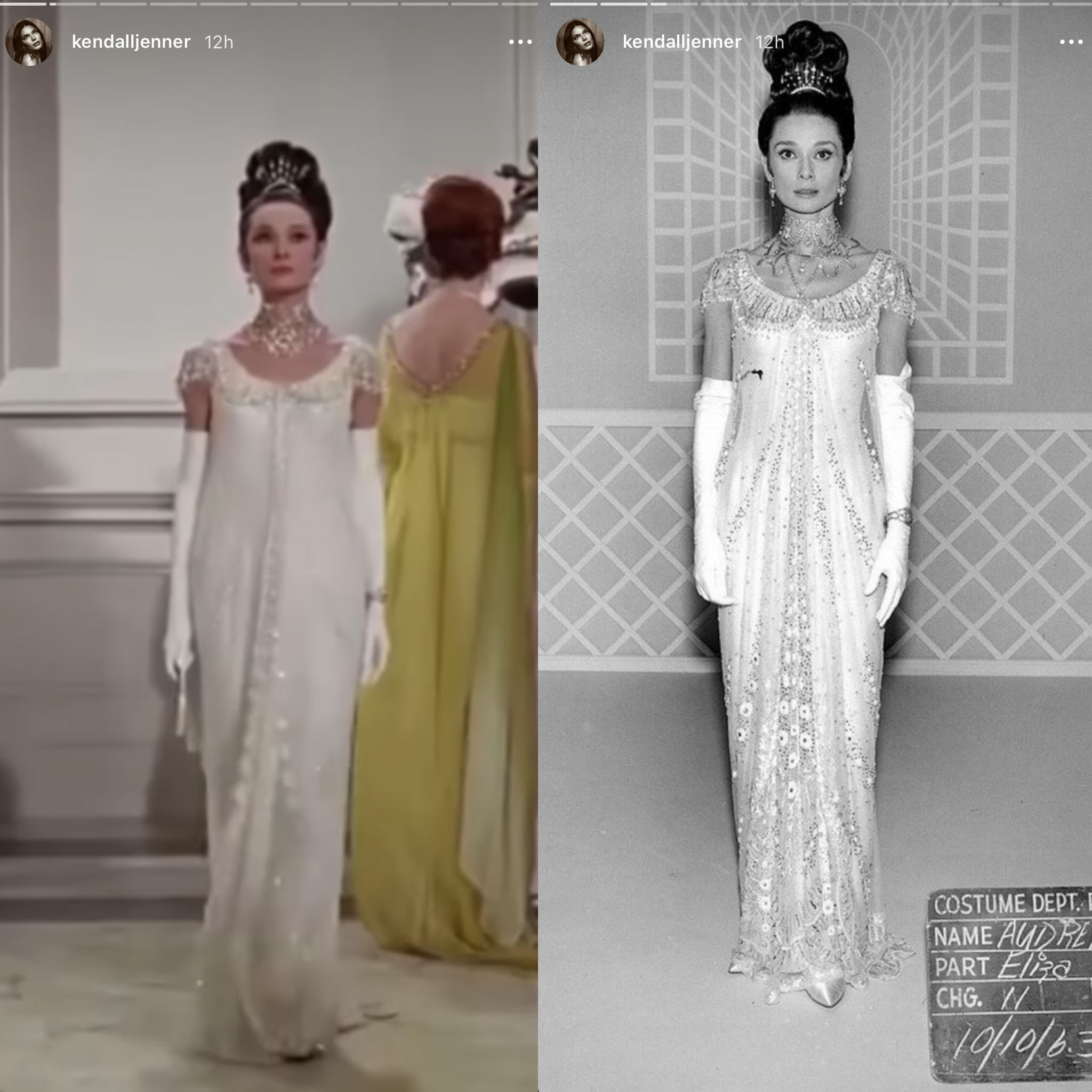 Kendall Jenner shares a clip from My Fair Lady and a photo of Audrey Hepburn in the crystal-embellished Givenchy dress