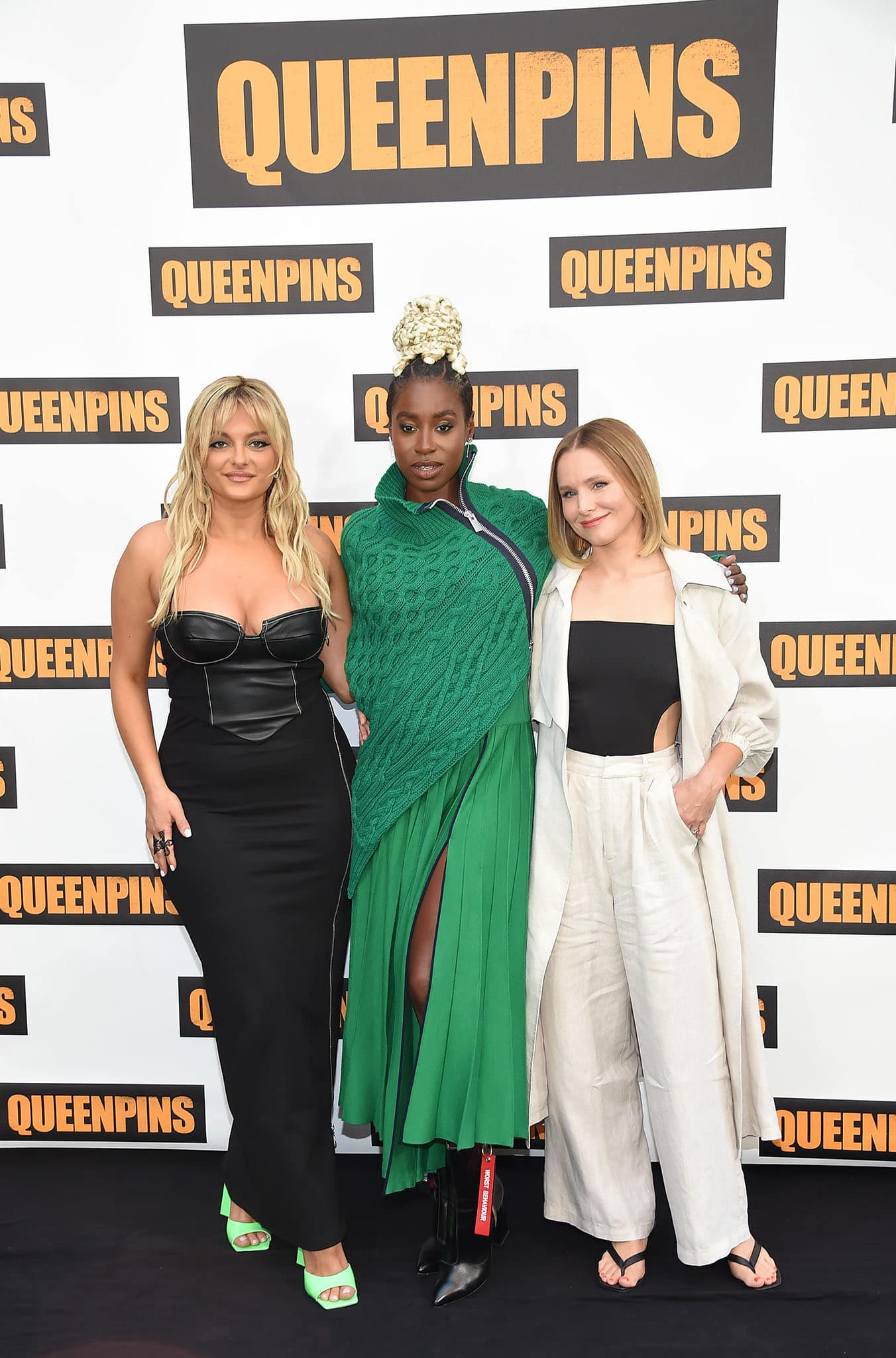 Bebe Rexha, Kirby Howell-Baptiste and Kristen Bell at STX films Queenpins photocall held at the Four Seasons Hotel Beverly Hills on August 25, 2021