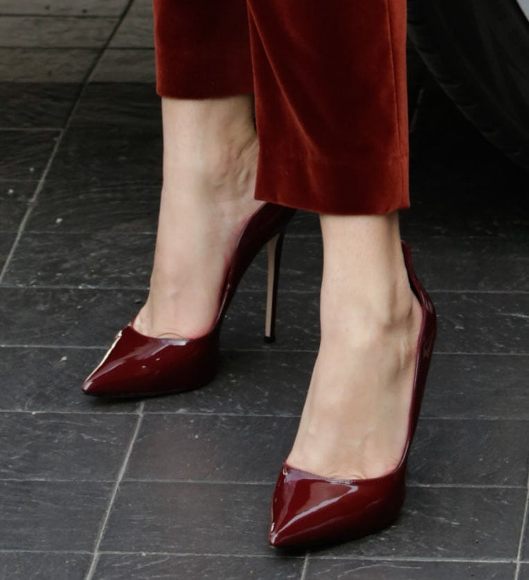 Bella Thorne completes her head-to-toe red look with Le Silla merlot patent pumps