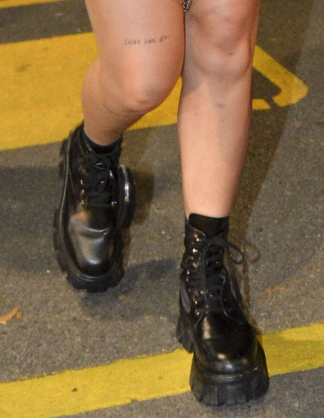 Bella Thorne completes her edgy look with Prada Monolith combat boots