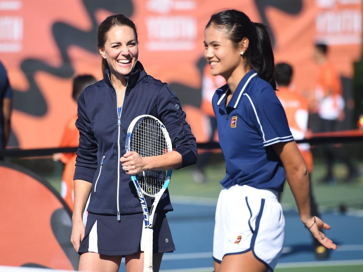 Britain's Catherine, Duchess of Cambridge plays tennis with US Open Champion Emma Raducanu