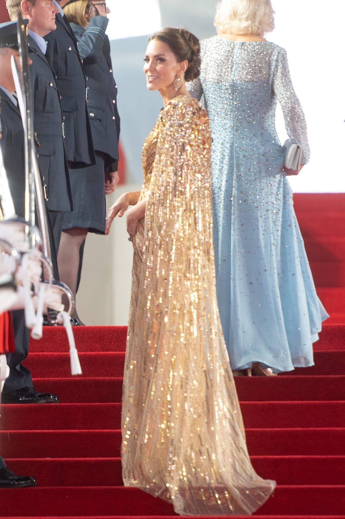 Catherine, Duchess of Cambridge is often seen in dresses by British fashion designer Jenny Packham