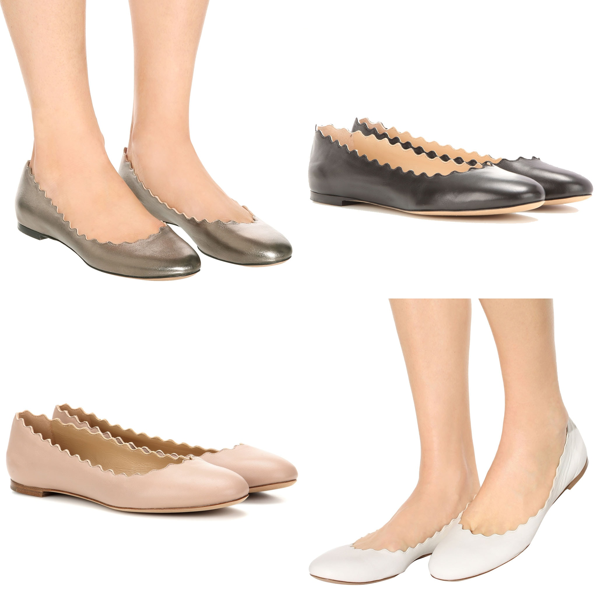 Chloe's Lauren offers timeless elegance and comfort with scalloped edging and a comfy flat sole