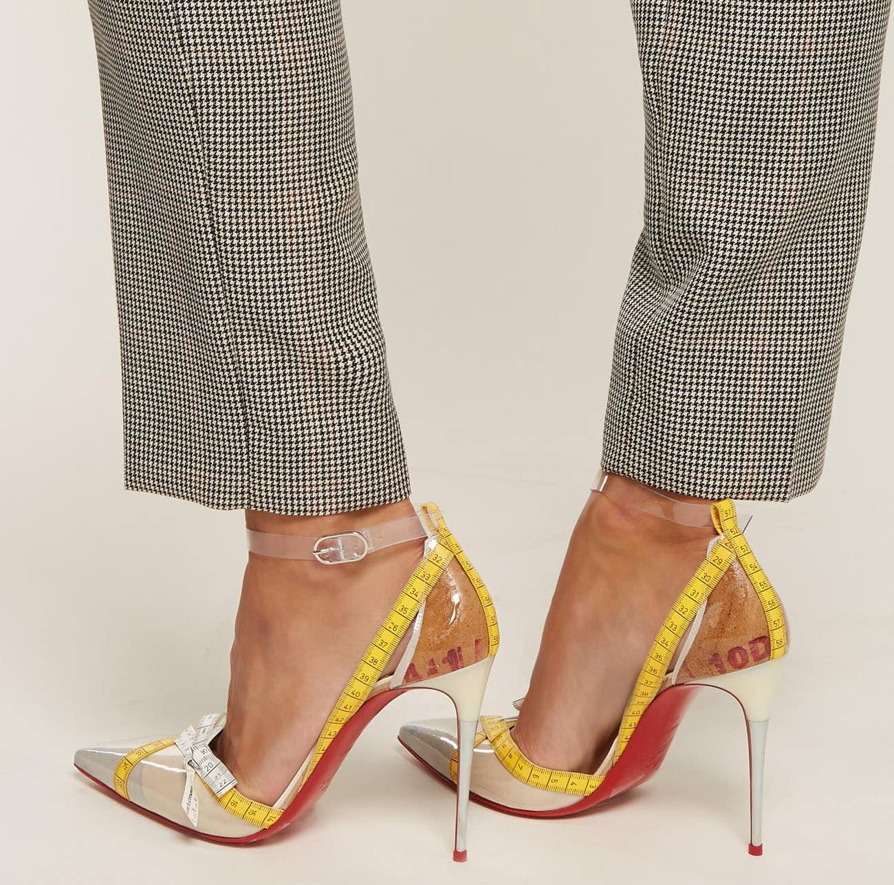 The Christian Louboutin Metripump stiletto pumps have tailoring tape on the edges and toes as a nod to the label's Parisian atelier