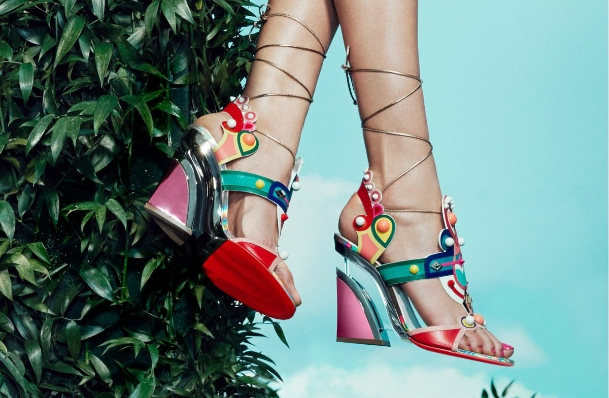 Christian Louboutin sandals in multicolor calf leather and PVC with studded/spike trim