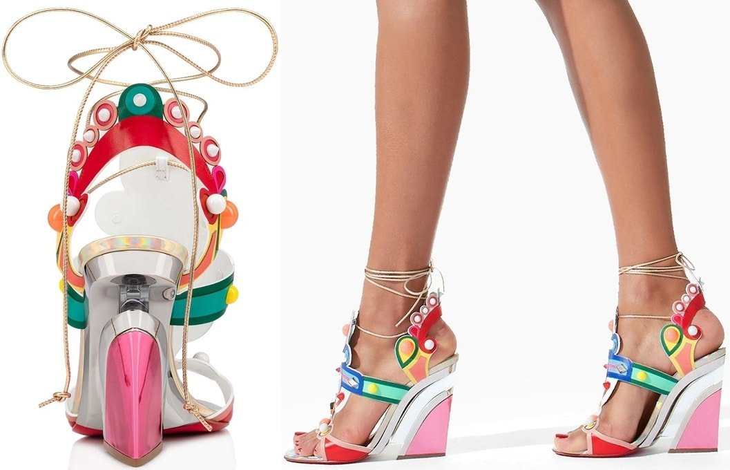 Christian Louboutin creates a visual levitation illusion with a transparent center bar at the wedge heel and gilt trim