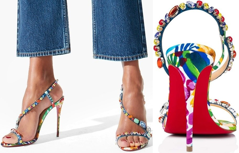 Christian Louboutin's Rosapetra jeweled red sole stiletto sandals worn with jeans