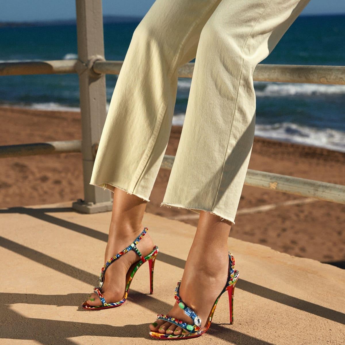 "Christian Louboutin's ""Rosapetra"" jeweled, floral-print silk sandals"
